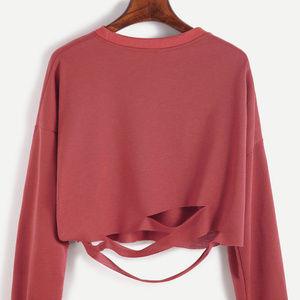 Tops - Brick Red Drop Shoulder Cut Out Crop T-shirt